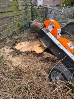 Stump grinding, capable of accessing domestic gardens.